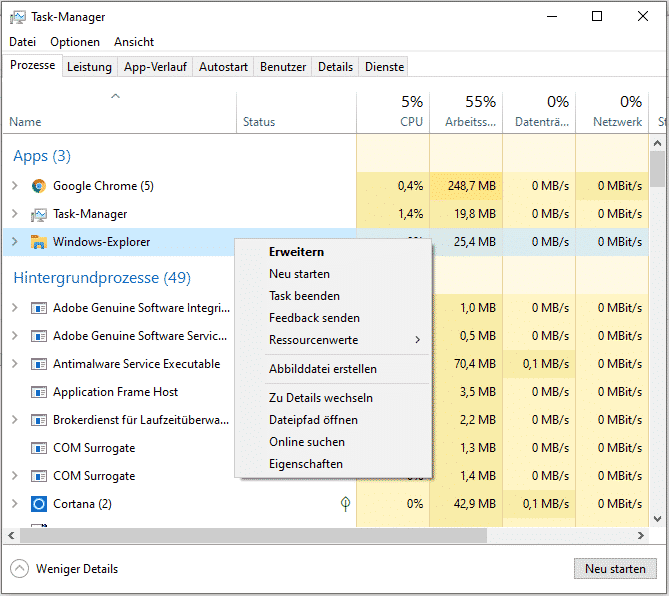 Windows Explorer neu starten Task Manager