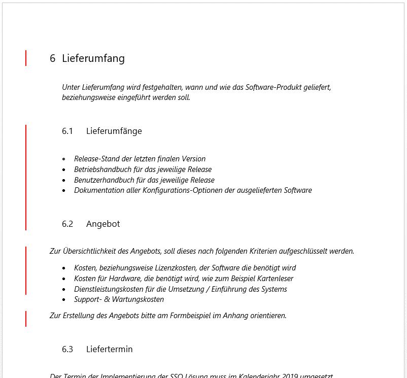 Lastenheft Vorlage Muster