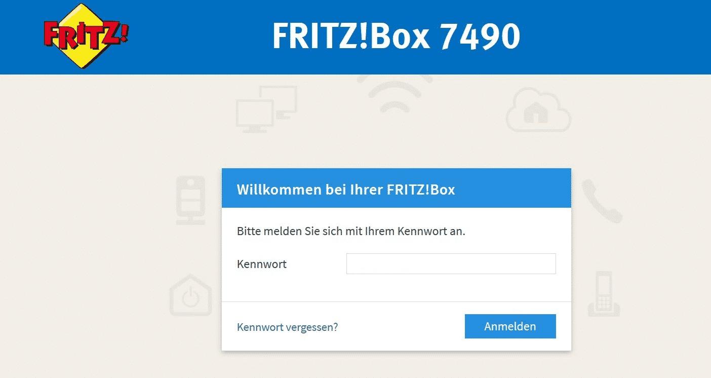 FritzBox Web Oberfläche Kennwort Passwort Anmeldung