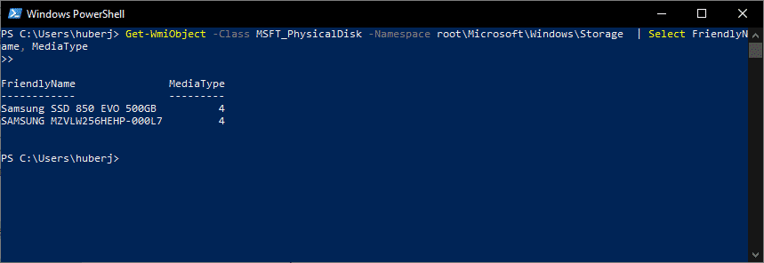 ssd oder hdd Get-WmiObject MSFT_PhysicalDisk powershell