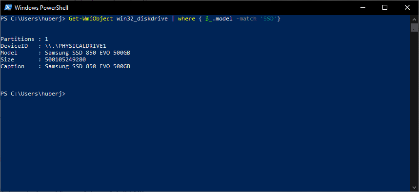 Get-WmiObject win32_diskdrive powershell