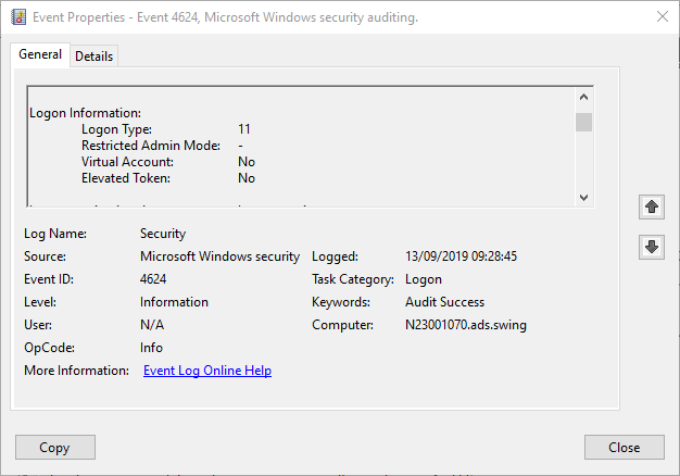 Windows Event ID 4624