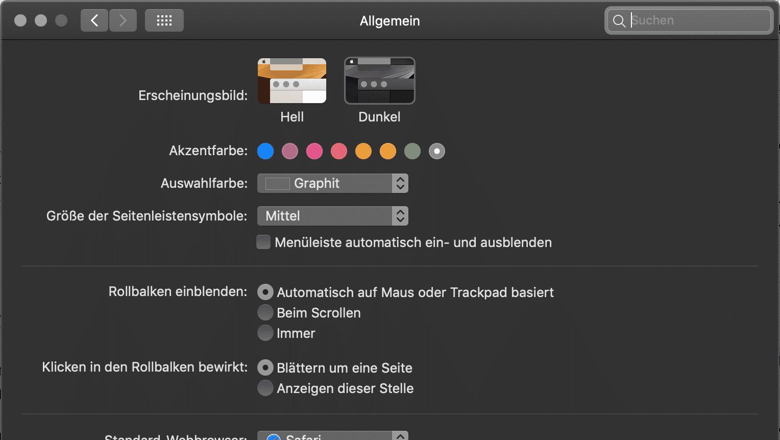 MacOS Dark Mode aktivieren