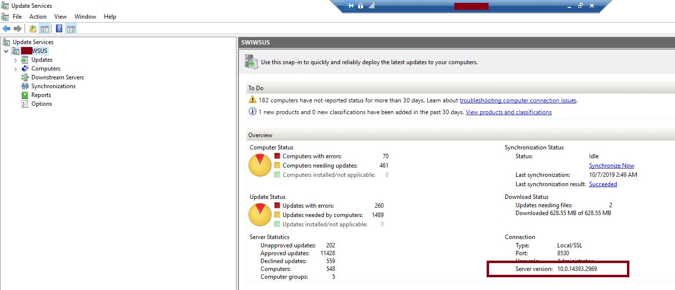WSUS Server Version Console