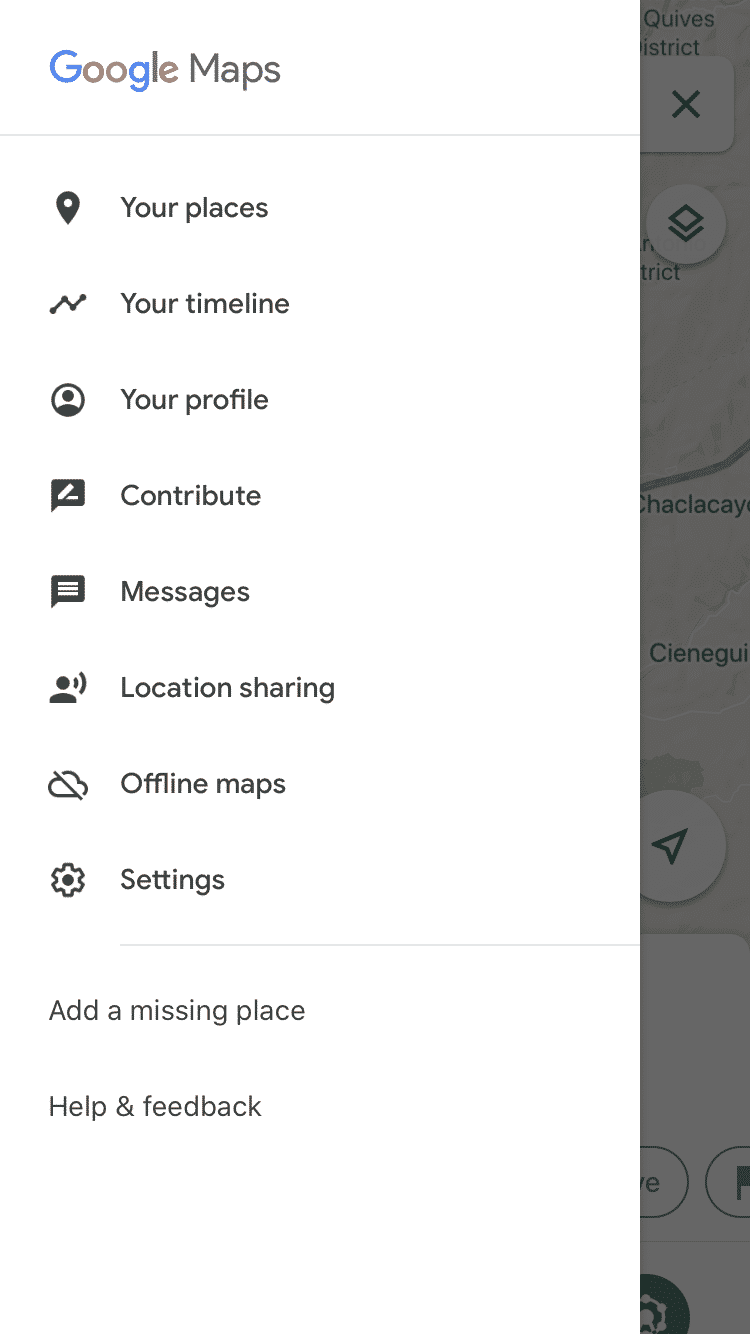 Google Maps Menü öffnen