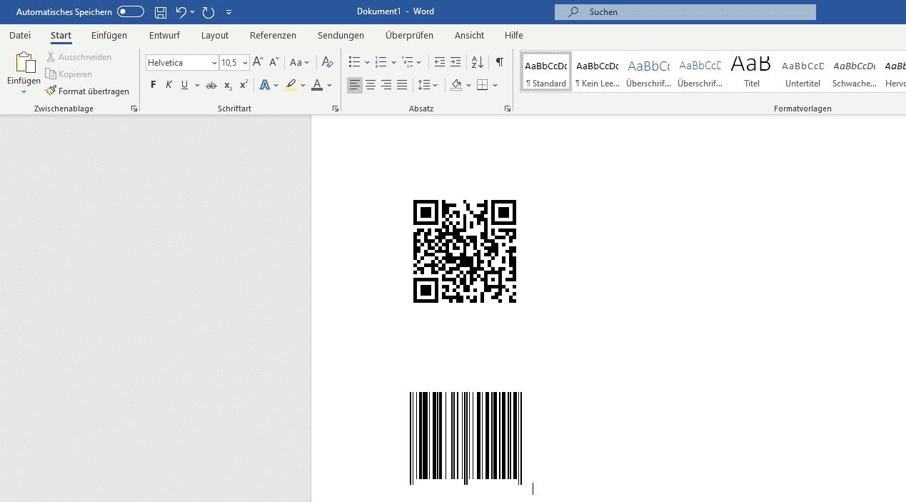 Barcode erzeugen Microsoft Word