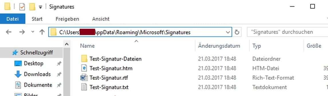 Outlook Signatur exportieren importieren