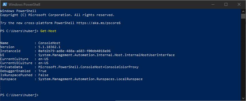 PowerShell Version anzeigen ermitteln Get-Host