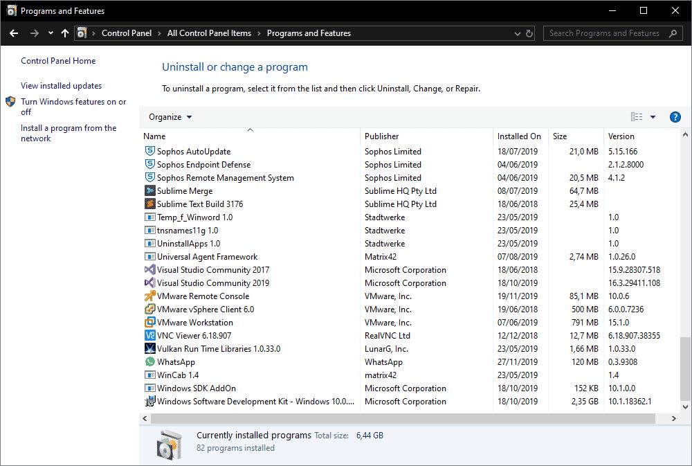 Programme und Features Systemsteuerung Windows