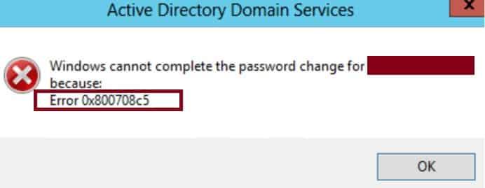 0x800708c5 Active Directory Benutzer User