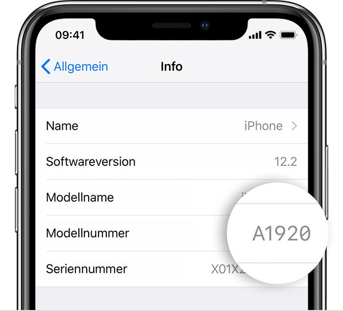 iPhone Modellnummer Einstellungen