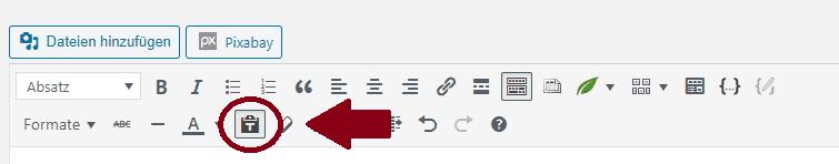 als text einfügen dauerhaft aktivieren wordpress