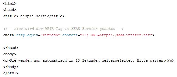 HTML Weiterleitung automatisch
