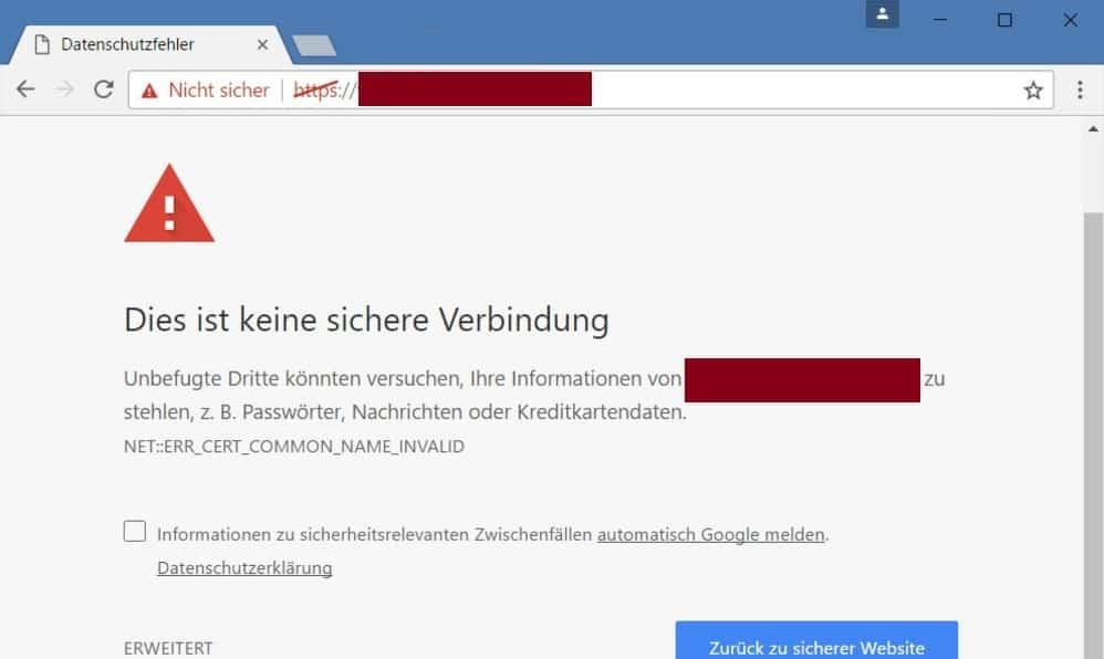 Seiten mit Zertifikat-Fehler sperren