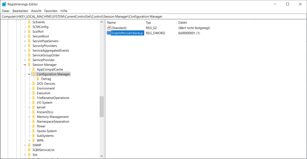 Automatisches Registry Backup unter Windows 10