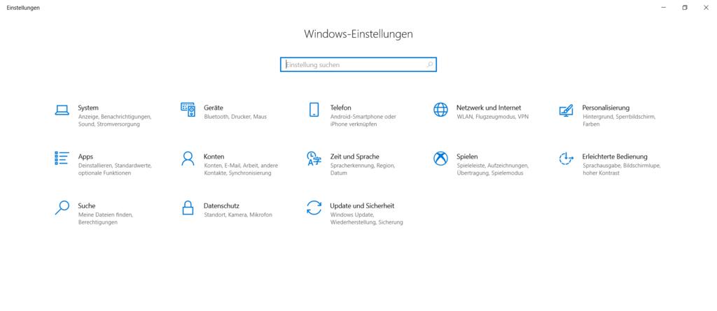 Windows Einstellungen URI