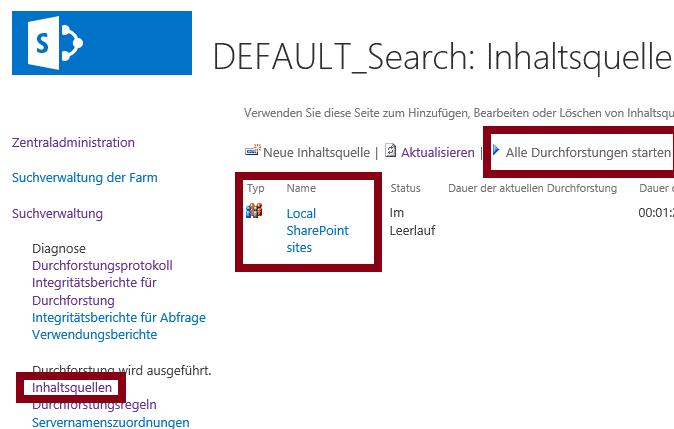 Sharepoint Suche Index neu aufbauen