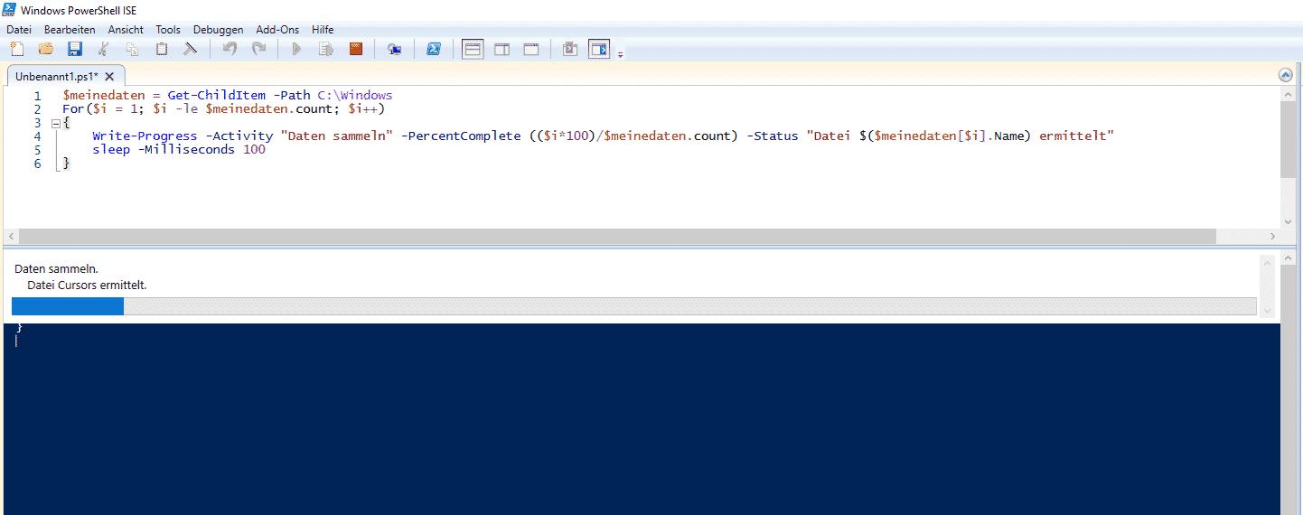 Ladebalken Fortschritt Write-Progress in PowerShell