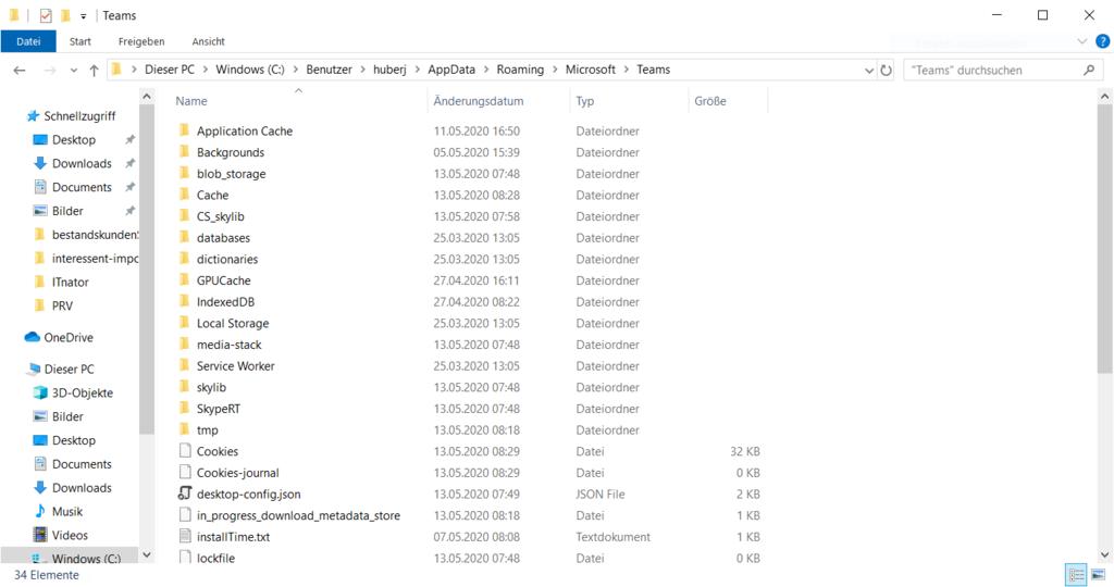 Microsoft Team Cache en Windows