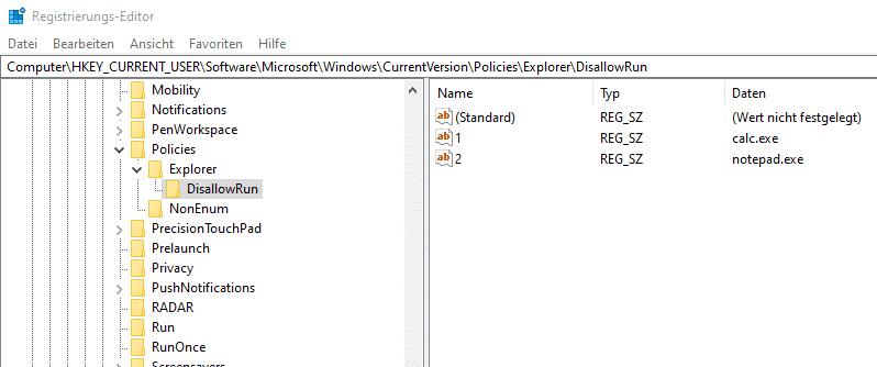 Anwendungen blockieren Registry
