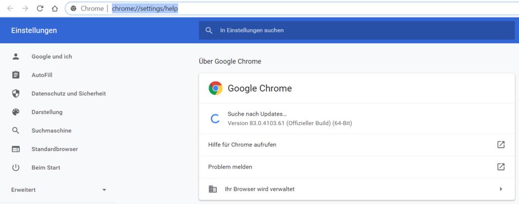 Über Google Chrome Update Einstellungen