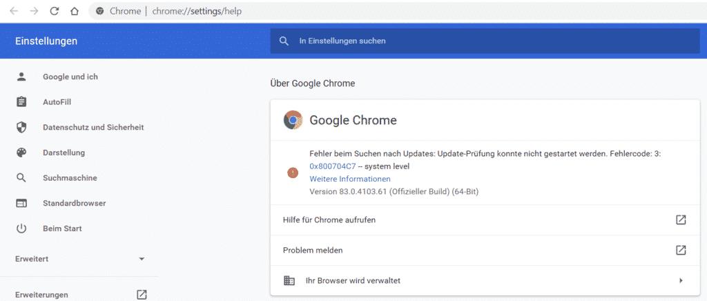 Chrome Update Fehler 3