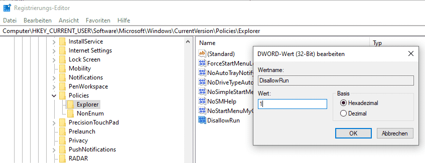 DisallowRun Registry