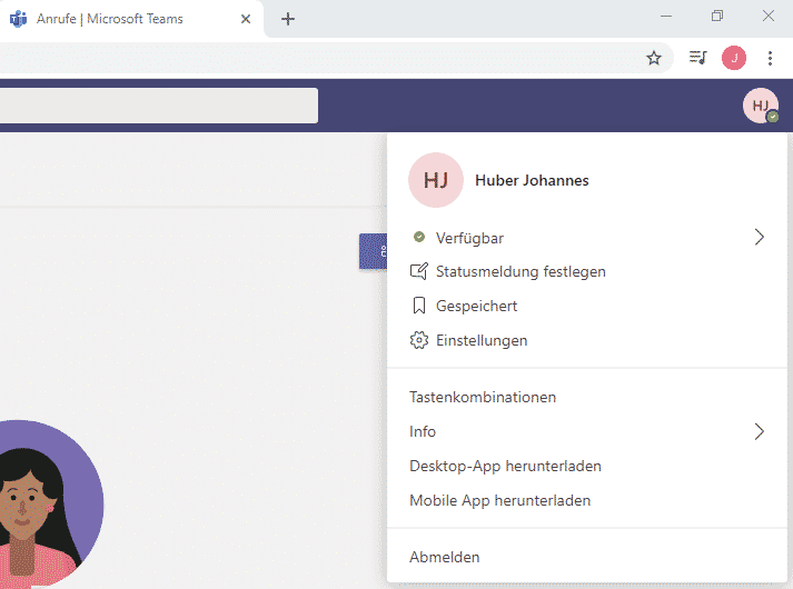 Benutzer abmelden Teams Web Browser