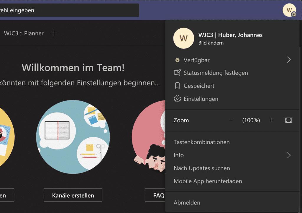 User abmelden in Teams unter Mac OS