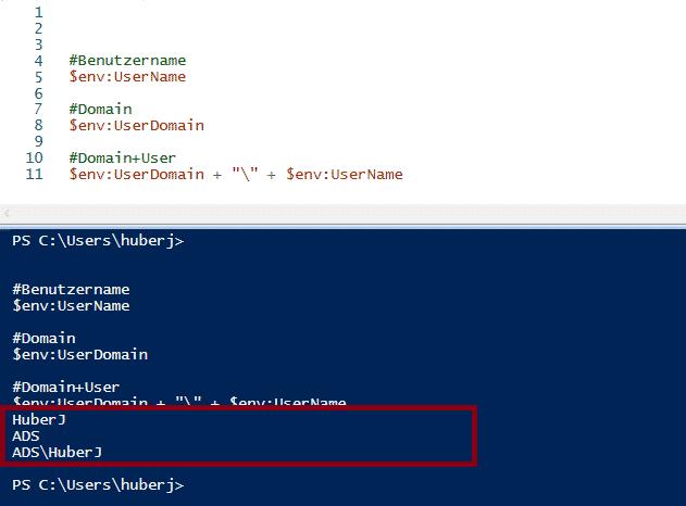 Benutzer-Namen auslesen mit PowerShell mit Domäne