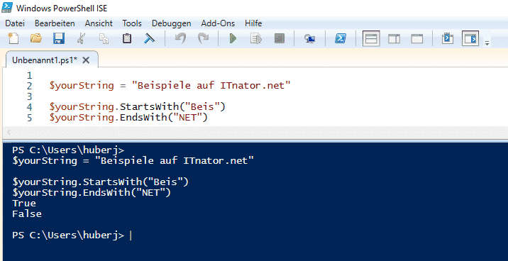StartsWith EndsWith mit PowerShell