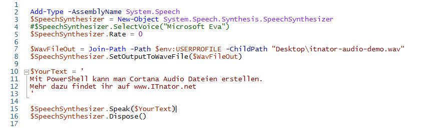 Text zu Audio mit PowerShell und Cortana