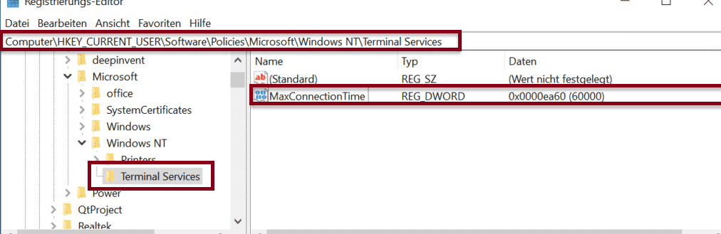 RDP MaxConnectionTime Registry