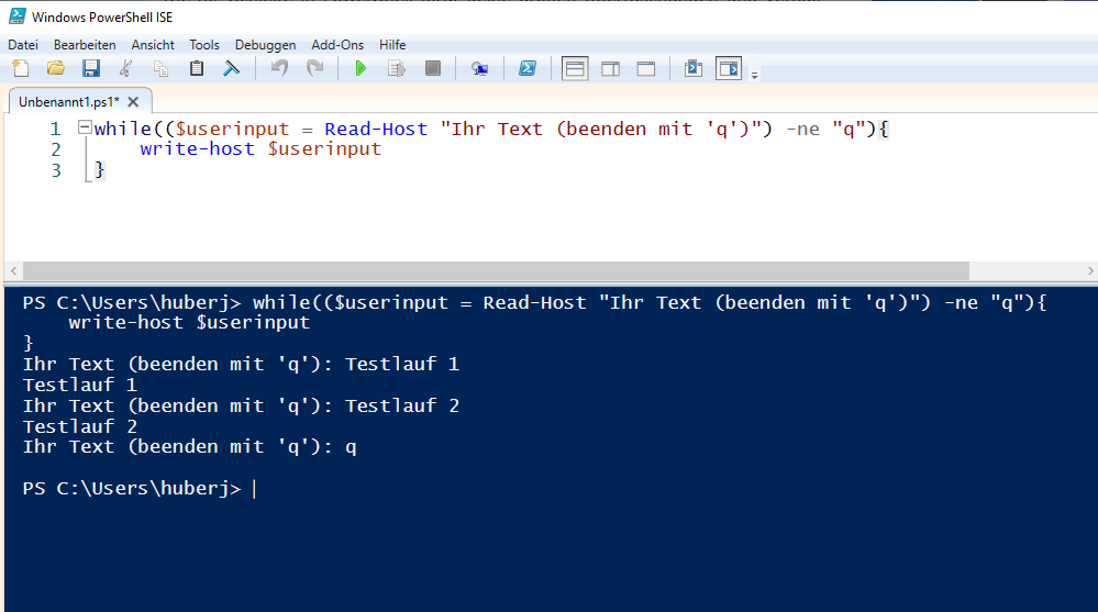 PowerShell while Schleife