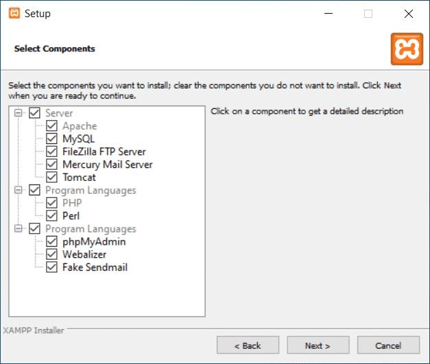 XAMPP Komponenten Installation