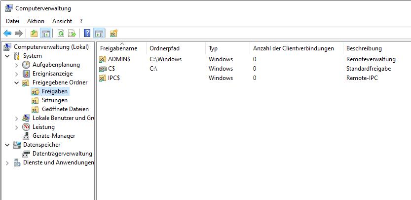 Windows administrative Freigaben