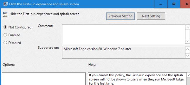 Edge GPO Hide the First-run experience and splash screen