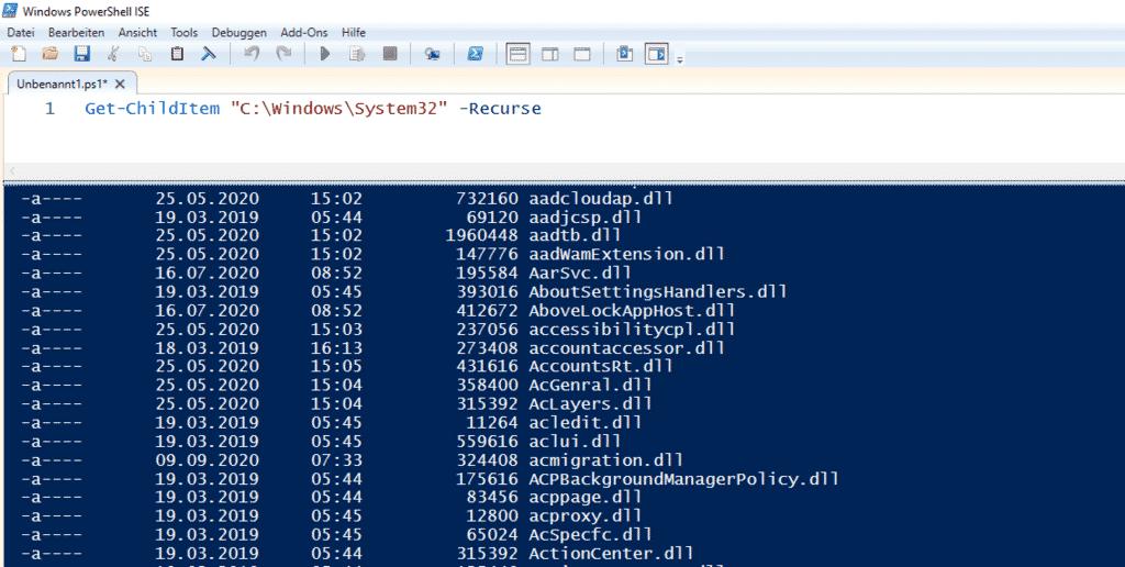 Inhalt von System32 auflisten auslesen PowerShell