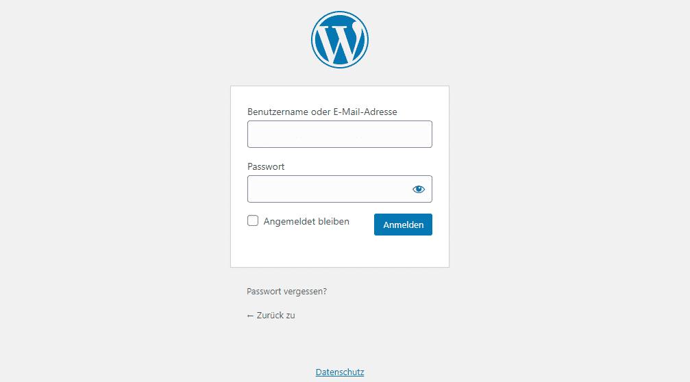 Wordpress Anmeldeseite Login