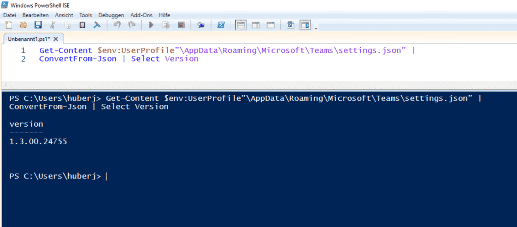 PowerShell Teams Version auslesen