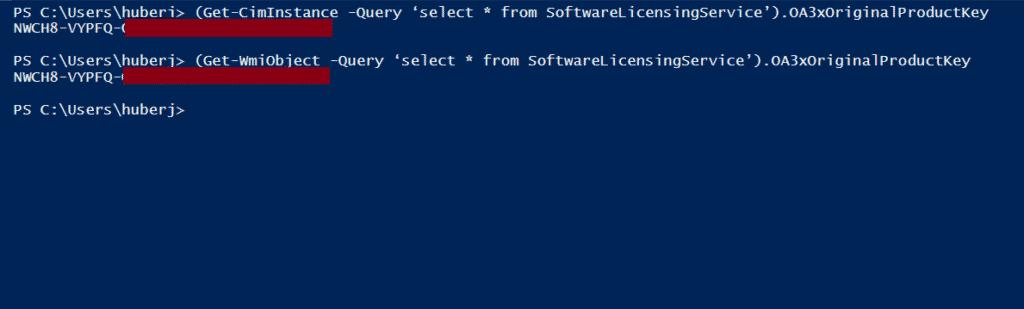 Windows Key ermitteln mit PowerShell OA3xOriginalProductKey