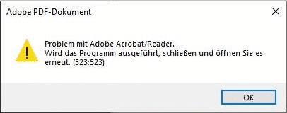 Adobe Reader Fehler 523