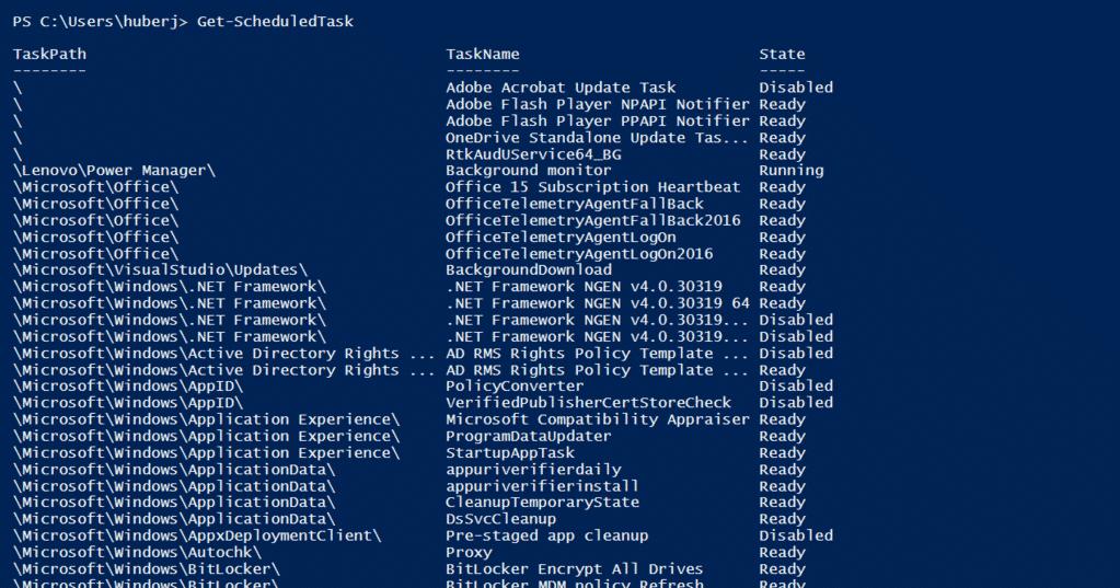 PowerShell Get-ScheduledTask