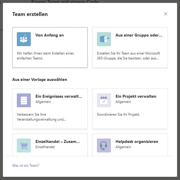 Teams von Anfang an Aus einer Gruppe