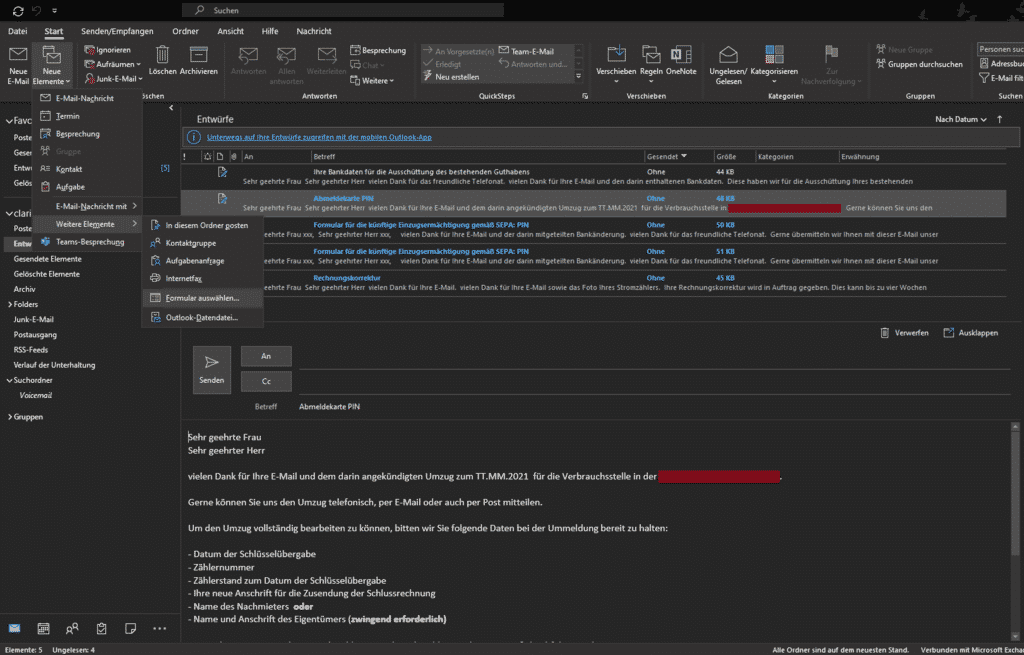 Outlook Elemente Formular auswählen...