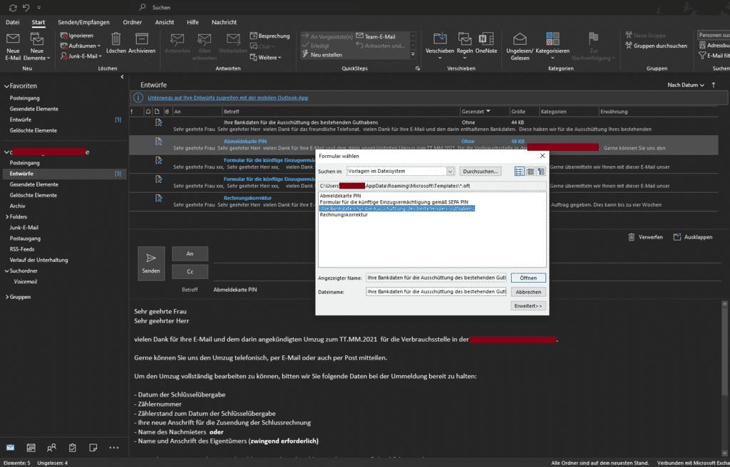 Outlook Vorlagen im Dateisystem